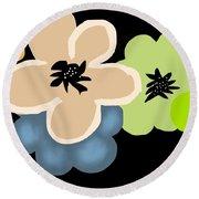 Round Beach Towel featuring the digital art Happy Flowers Blue by Christine Fournier