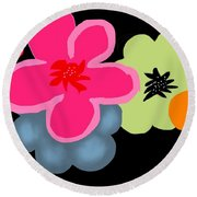 Round Beach Towel featuring the digital art Happy Flowers Pink by Christine Fournier