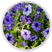 Happy Flowers Round Beach Towel by Wilma  Birdwell