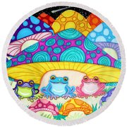 Happy Frogs In The Starlight  Round Beach Towel