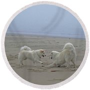 Round Beach Towel featuring the photograph Happy Girls Beach Side by Fiona Kennard