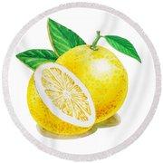 Happy Grapefruit- Irina Sztukowski Round Beach Towel