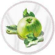 Round Beach Towel featuring the painting Happy Green Apple by Irina Sztukowski