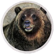 Happy Grizzly Bear Round Beach Towel