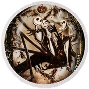 Happy Halloween IIi Sepia Version Round Beach Towel