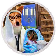 Happy Hanukkah  - 2 Round Beach Towel