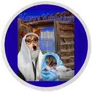 Happy Hanukkah -1 Round Beach Towel