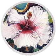 Round Beach Towel featuring the painting Happy Hawaiian Hibiscus by Marionette Taboniar