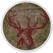 Happy Holidays Deer Round Beach Towel
