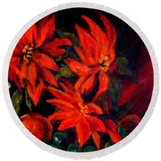 New Orleans Red Poinsettia Oil Painting Round Beach Towel