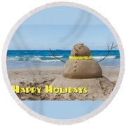 Happy Holidays Sandman Round Beach Towel
