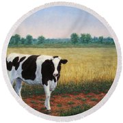 Happy Holstein Round Beach Towel