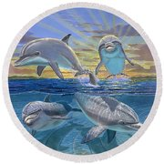 Happy Hour Re003 Round Beach Towel