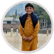 Round Beach Towel featuring the photograph Happy Laughing Pathan Boy In Swat Valley Pakistan by Imran Ahmed
