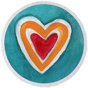 Happy Love Round Beach Towel