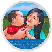 Happy Mom And Babe Round Beach Towel by Cyril Maza