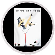 Round Beach Towel featuring the painting Happy New Year by Nora Shepley