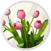 Round Beach Towel featuring the digital art Happy Spring Pink Tulips 2 by Jeannie Rhode