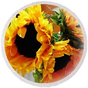Happy Sunflowers Round Beach Towel