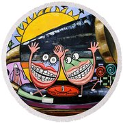 Round Beach Towel featuring the painting Happy Teeth When Your Smiling by Anthony Falbo