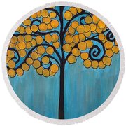 Happy Tree In Blue And Gold Round Beach Towel