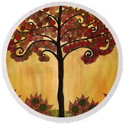 Happy Tree In Red Round Beach Towel
