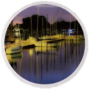 Harbor At Night Round Beach Towel