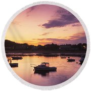 Round Beach Towel featuring the photograph Harbor Cape Cod Ma by Panoramic Images