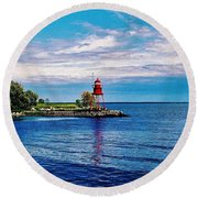Round Beach Towel featuring the photograph Harbor Light by Daniel Thompson