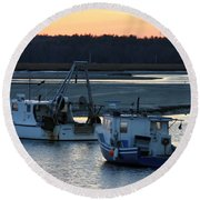 Harbor Nights Round Beach Towel by Denyse Duhaime