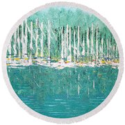 Harbor Shores Round Beach Towel by George Riney
