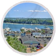 Harbor Springs Michigan Round Beach Towel by Bill Gallagher