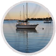Harbor Sunrise Round Beach Towel