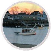 Harbor Sunset Round Beach Towel by Denyse Duhaime