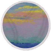 Harbor Sunset Round Beach Towel