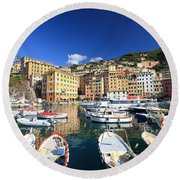 Round Beach Towel featuring the photograph Harbor With Fishing Boats by Antonio Scarpi