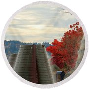 Harborside Fountain Park Round Beach Towel by E Faithe Lester