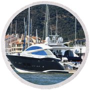 Harbour Docking Scene Round Beach Towel