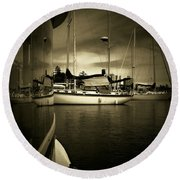 Round Beach Towel featuring the photograph Harbour Life by Micki Findlay