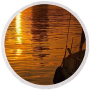 Round Beach Towel featuring the photograph Harbour Sunset by Clare Bevan