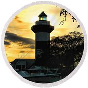 Harbour Town Lighthouse Beacon Round Beach Towel
