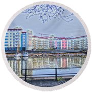 Harbourside Flats Round Beach Towel