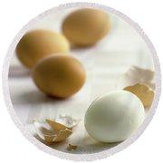 Hard-boiled Eggs Round Beach Towel