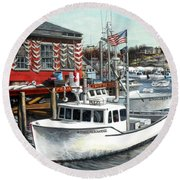 Hard Merchandise Rocky Neck Round Beach Towel by Eileen Patten Oliver