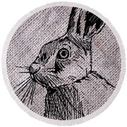 Hare On Burlap Round Beach Towel