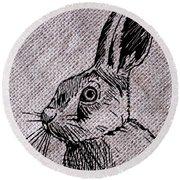 Hare On Burlap Round Beach Towel