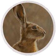 Hare Portrait I Round Beach Towel