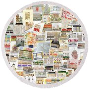 Harlem Collage Of Old And New Round Beach Towel