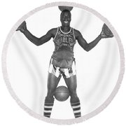 Harlem Globetrotters Player Round Beach Towel by Underwood Archives