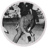 Harlem Race Riots Round Beach Towel by Underwood Archives